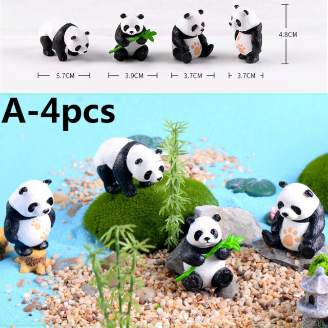 Mini Animal Statue Micro Panda Figurine Resin Ornaments Miniature Model J