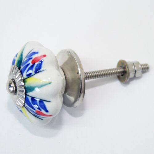 Möbelknopf Möbelgriff Möbelknöpfe Keramik Möbelknäufe Griff Shabby Weiß Blau 114