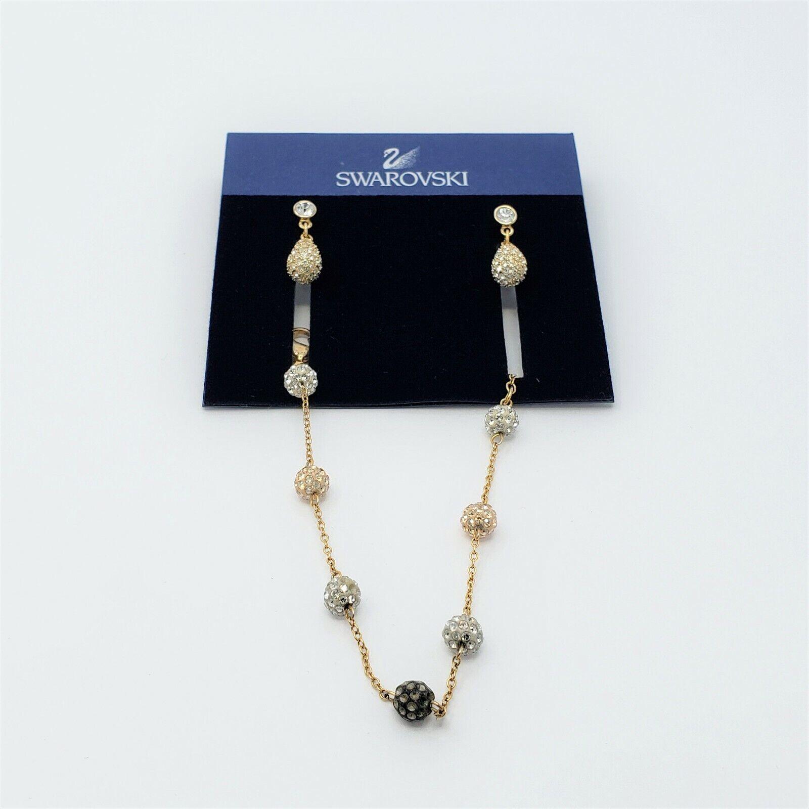 Swarovski Gold Tone Clear Crystal Pear Tear Drop Pierced Earrings And Bracelet