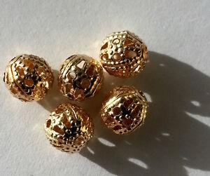Modeschmuck-100-Metallperle-Legierung-Perle-6-mm-Farbe-altgold-Kettenperlen-A1