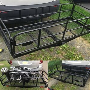 """Foldable Hitch Cargo Carrier 60""""x 24""""x 14"""" Basket Trailer 500 lbs Capacity"""
