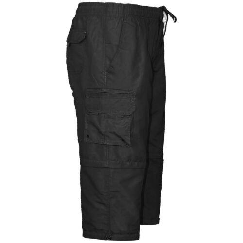 MENS ELASTICATED WAIST SUMMER COTTON CARGO COMBAT 3//4 SWIM BEACH SHORTS PANT