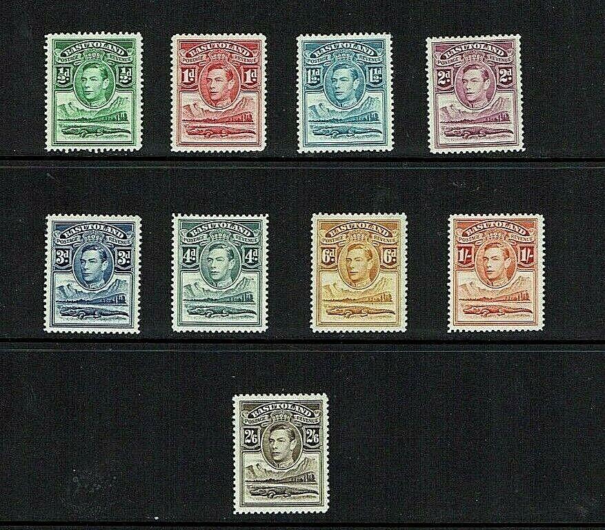Basutoland: 1938, King George VI definitive, short set to 2/6, Mint