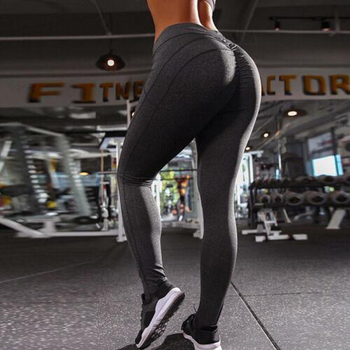 Damen Push Up High Waist Yogahose Fitness Hosen Legging Jogging Lange Sporthose