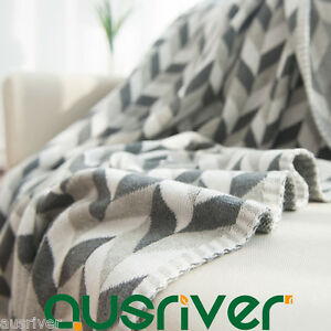 Cotton Knitted Diamond Pattern Throw Rug Couch Lounge Sofa Nap Blanket 120x180cm