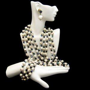 CROWN-TRIFARI-Rare-5-Strand-Necklace-Bracelet-Earrings-Blue-AB-Crystals-Acylic