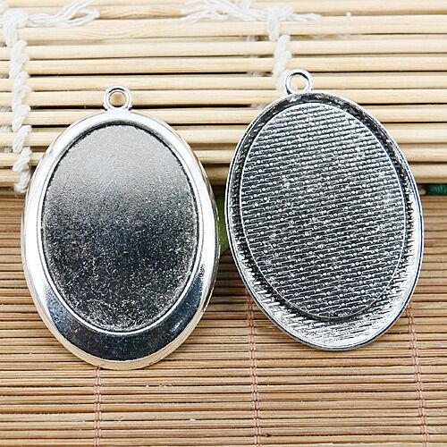 2pcs tibetan silver color oval plain style cabochon settings EF2081