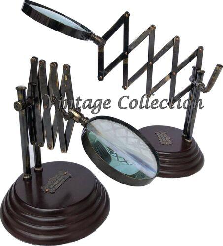 Vintage Desktop Chainner Magnifying Glass on Wooden Base Antique Brass Magnifier