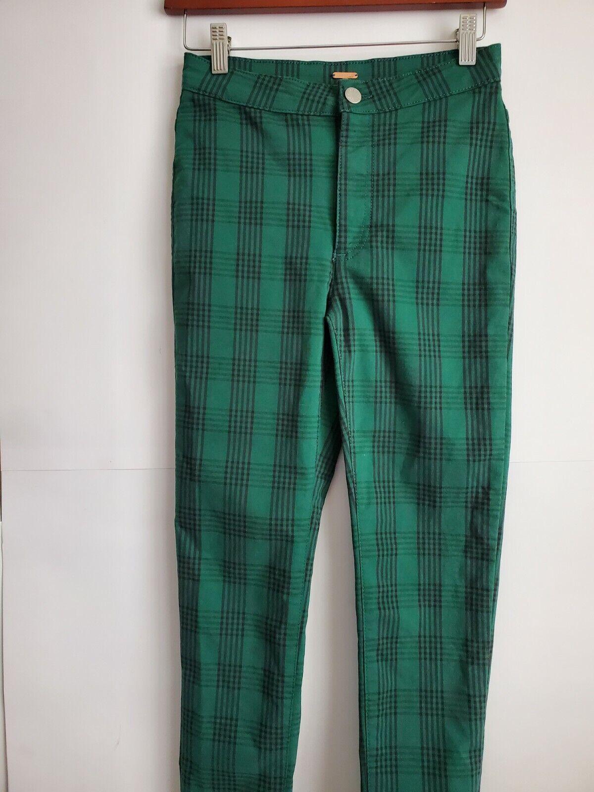 Free People  Women's Green Plaid Skinny Pants, Si… - image 5