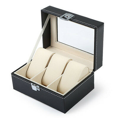 3 Grids Black Leather Watch Box Jewelry Display Box Transparent Skylighty W PF