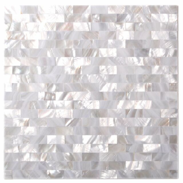 White Seamless Mother of Pearl Kitchen Backsplash Tile Bath Shower Wall  Mosaics