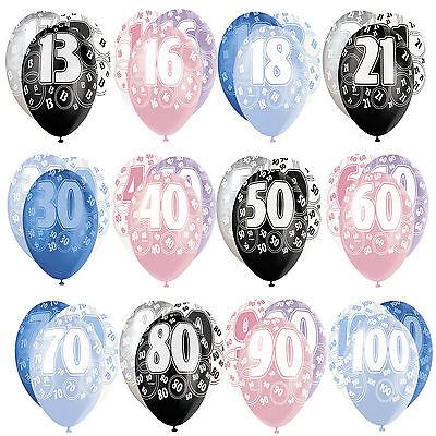 "6 x 12/"" Birthday Glitz Pearlised Latex Party Balloons Pink Blue Black 13th-100th"