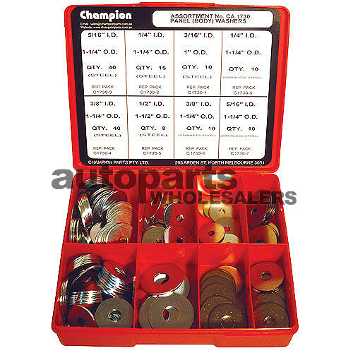 CHAMPION PANEL BODY FLAT STAINLESS & STEEL WASHERS ASSORTMENT KIT 143 Pieces
