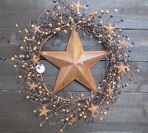 Primitive Wreath Rusty Star Tan Black Pip Berry Berries Mini Stars