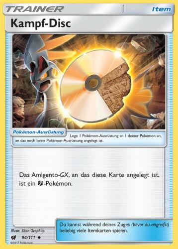 Sonne und Mond Aufziehen der Sturmröte Pokemon 94//111 Kampf-Disc