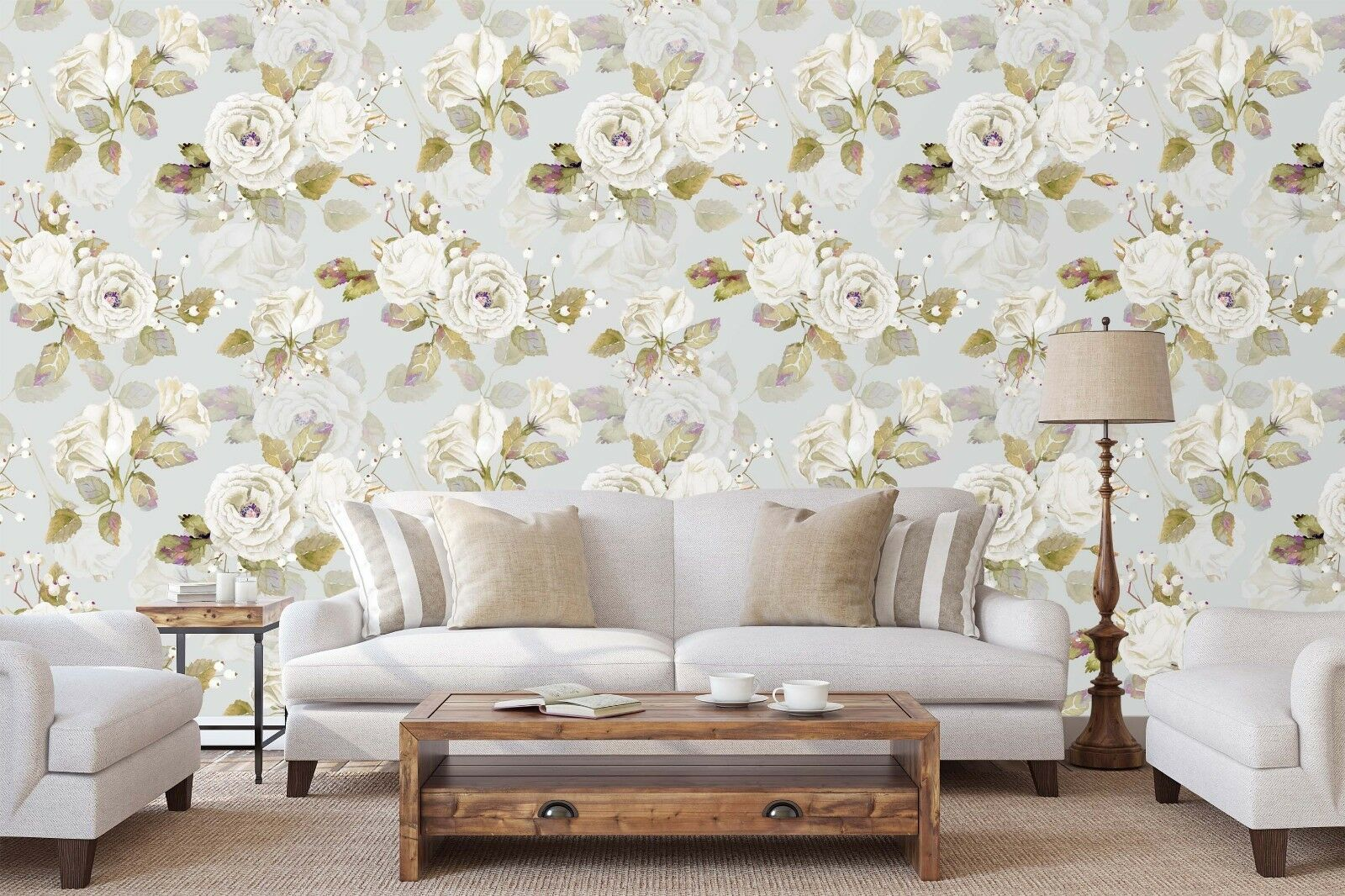 3D Weiß Roses Flower 5 Wall Paper Wall Print Decal Wall Deco Indoor Wall Murals