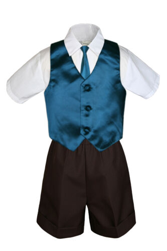 4pc Boys Toddler Formal Baby Brown Shorts Color Vest and Clip on Necktie S-4T