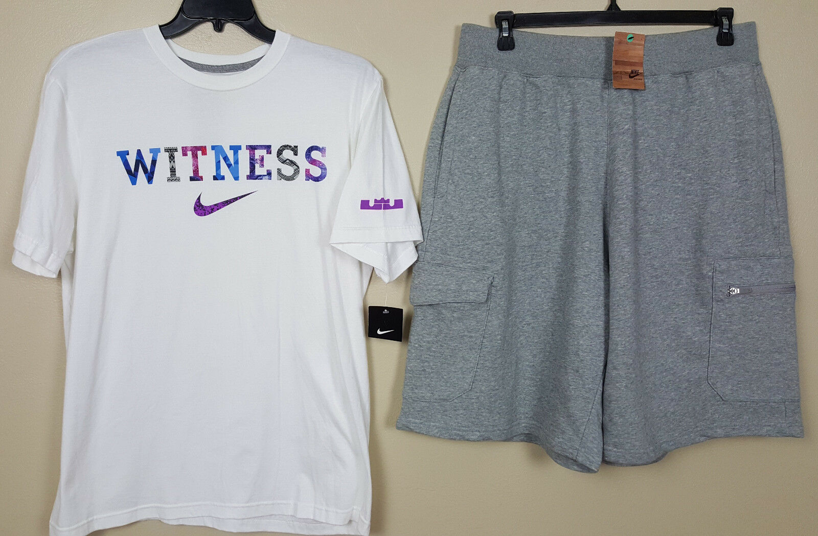 NIKE LEBRON WITNESS OUTFIT SHIRT + SHORTS WHITE GREY BLACK 3 ITEMS NEW (SIZE XL)