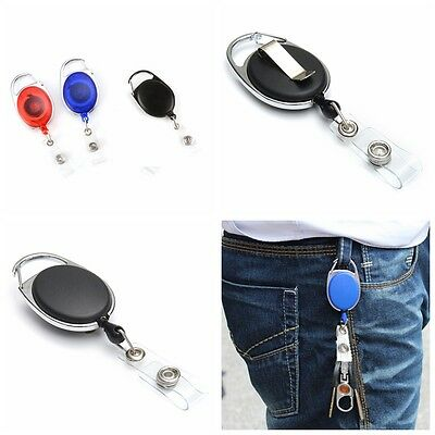 5/10X  Retractable Recoil ID Badge Lanyard Name Tag Key Card Holder Chain Reel