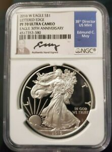 2016-W-PROOF-NGC-PF-70-UC-SILVER-EAGLE-LETTERED-EDGE-30TH-ANN-EDMUND-MOY-SIGNED
