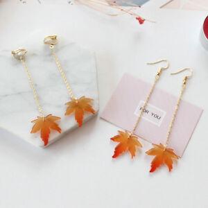 Women-Fall-Autumn-Tree-Maple-Leaf-Clip-Up-Hook-Long-Drop-Dangle-Earrings-Jewelry