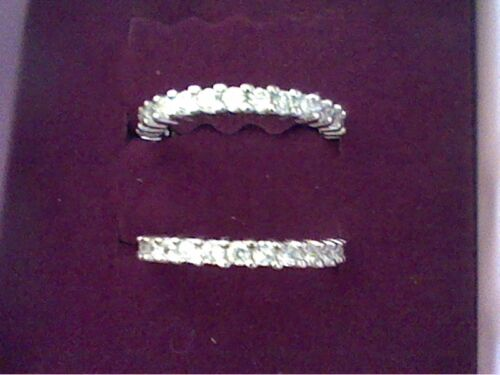 FREE STUD EARRINGS Details about  /PLATINUM /& SS 2 ETERNITY STACK RINGS GUARDS SET SZ 11