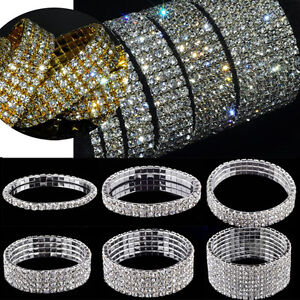 Damen-Armband-Strass-Stretch-Armreif-Armkette-Silber-Hochzeit-Party-Schmuck