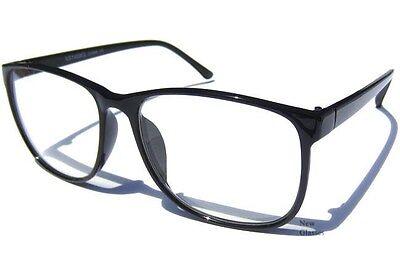 BLACK  FRAME Retro Aviator CLEAR LENS EYE GLASSES Hipster Nerd Geek Oversize NEW