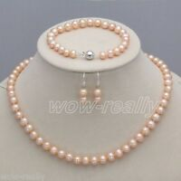 7-8mm Real Natural pink Freshwater Pearl Necklace Bracelet Earrings Jewelry Set