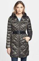 Bernardo Belted Packable Goose Down Jacket Quilted Walker Coat Green Medium 20