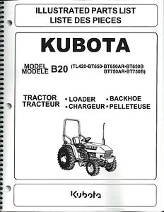image is loading kubota-b20-tractor-loader-backhoe-illustrated-parts-manual