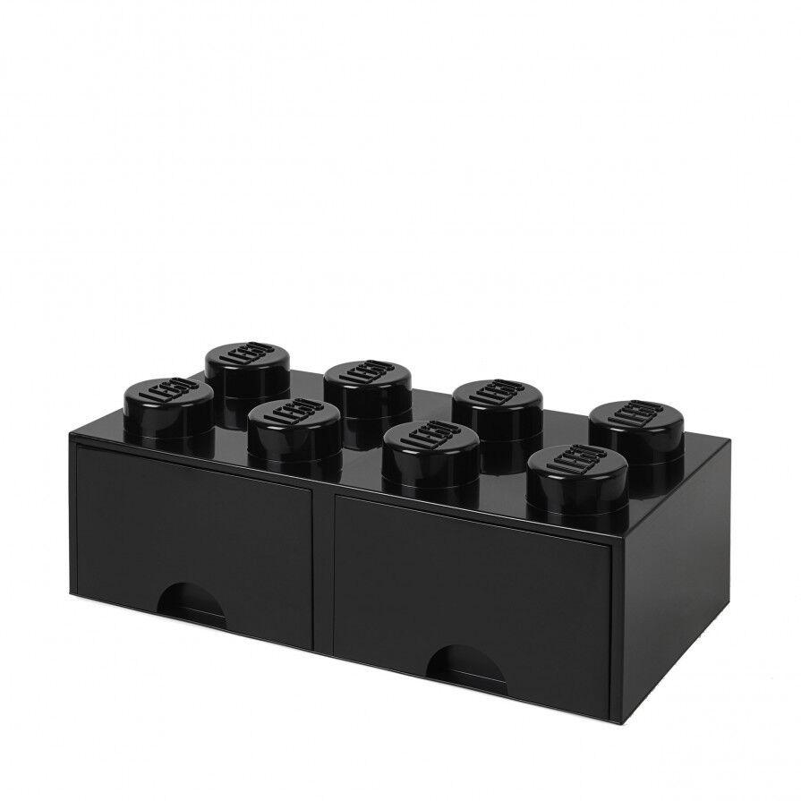 LEGO Storage Brick Stein mit Schublade stapelbar Drawer 8 Schwarz schwarz