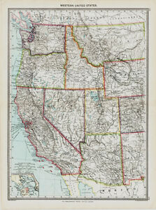 Western United States Map In 1908 Ebay