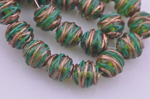5pc-14mm-Round-Twine-Handcraft-Lampwork-Glass-Spacer-Beads-Jewelry-Finding-Green