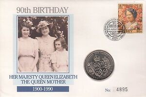 FDC 90th Birthday of The Queen Mother with a 2 coin 19001990 - Halesworth, United Kingdom - FDC 90th Birthday of The Queen Mother with a 2 coin 19001990 - Halesworth, United Kingdom