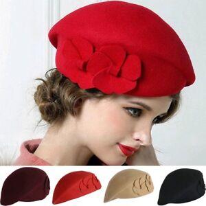 ff020add9e4cc Womens Vintage Winter Warm Wool Cap Felt French Beret Beanie Pillbox ...