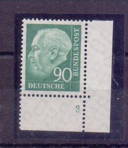Bund-1956-90Pf-Heuss-MiNr-265-postfrisch-Eckrand-mit-Form-Nummer-525
