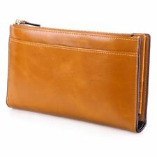 S-Zone Women'S Genuine Leather Trifold Long Wallet Card Case Slim Clutch Purse