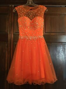 Cocktail dress, Orange, size 0; Prom! Pageant! Homecoming!