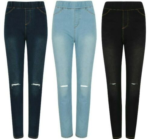 Ladies Ripped Jeans Jeggings Skinny Fit Cotton Ex Store Stone Wash Dark Black