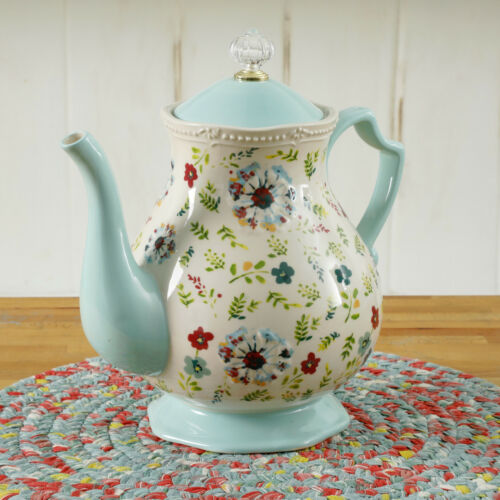The Pioneer Woman 2.7 Qt Tea Pot Stoneware Kari Mint Green Pitcher NEW