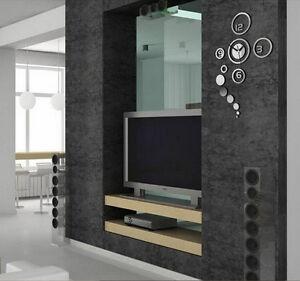 design wand uhr wohnzimmer wanduhr spiegeleffekt wandtattoo deko b rouhr b ro ebay. Black Bedroom Furniture Sets. Home Design Ideas