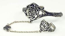 Celtic Slave Bracelet  with Ring,  Lead Free Pewter