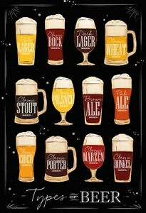 Types-Of-Beer-Motif-2-Tin-Sign-Shield-Arched-7-8x11-13-16in-FA0113