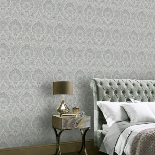 SILVER LUXE DAMASK WALLPAPER BY ARTHOUSE 906609 TEXTURED METALLIC FLORAL