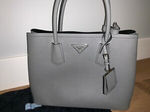b5fb0cf10557 Image is loading PRADA-Saffiano-Leather-Cuir-Small-Double-Tote-Purse-