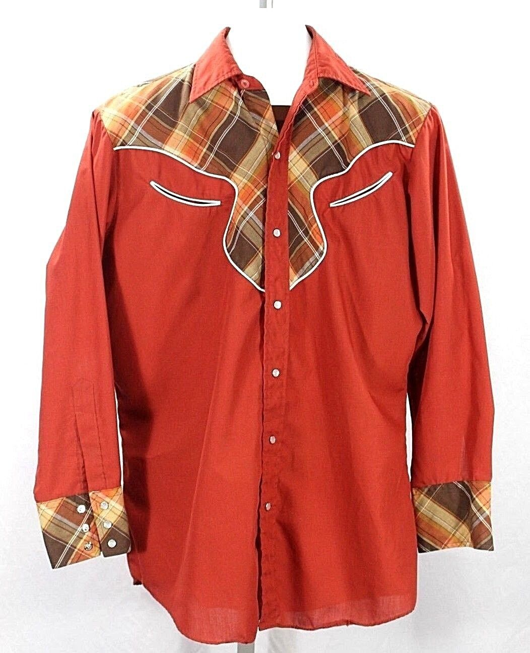 Vintage Ely Plains Western Shirt Pearl Snaps LS Rust Plaid Yolk 15-1 2-33 Korea