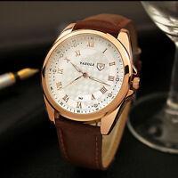 Men's Quartz Wrist Watches Leather Watch Strap Analog Stainless 2016