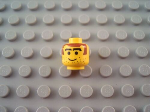 LEGO Yellow Minifig Head with Brown Hair and Stubble