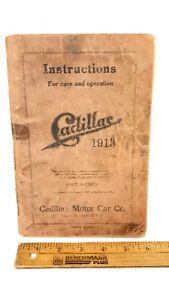 1913-CADILLAC-Owner-039-s-Manual-4th-Ed-RARE-Good-to-Fair-Condition-US